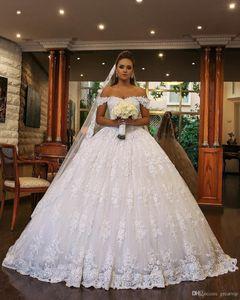 Luxury Princess Wedding Dresses Ball Gown Off Shoulder Lace Beads Sweep Train Bridal Gowns Plus Size Chapel Vestido De Novia