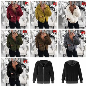 Femmes en peluche Fausse Fourrure sweat à capuche capuche Vêtements d'extérieur Pocket Coat Warm Sweater Outdoor Courtes chaud Outwear solide veste manteau LJJA3012