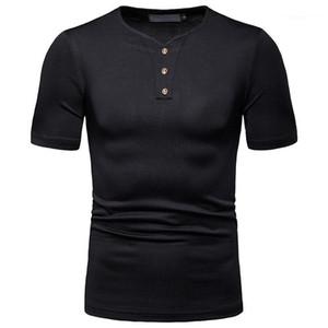 Shirts homme Men Solid Color Collar Fashion Clothes Summer Mens Designer Clothing V Neck Short Sleeved Polo
