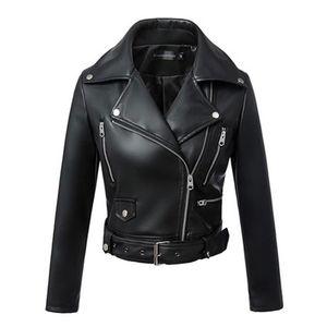 Black Faux Leather Jacket Women Spring Autumn Short Soft Pu Leather Jackets With Belt Zipper Moto Biker Coat FM003