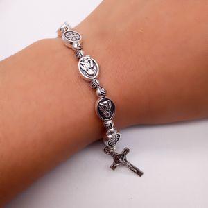 2020 Suprimentos New Catholic religiosos Rosário Charm Bracelet Elastic Bracelet Christams presente Mens Acessórios de jóias sem cartão
