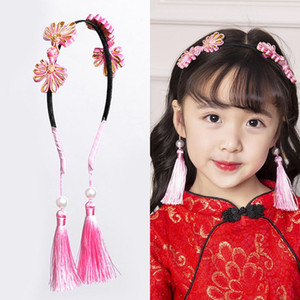 Traditional New Year Chinese Tassels Fake Earrings Kids Girls Headband Hair Accessory Fake Earrings Girl Headband Accessory
