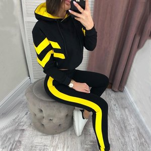 Hooded Tracksuit For Women 2020 Spring Long Sleeve Sweatershirt Sport Suit 2 Pcs Sports Set Outfits Striped Fashion Running Sets