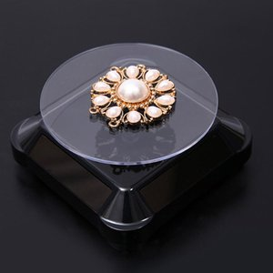 Solar Energy Electric Rotating Display Stand Tray Jewelry Accessories Prop Stand Phone Display Stand No Battery Included(Black)