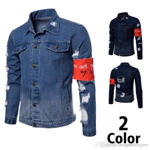 Mens Fashion Designer Jeans Jacktes Stehkragen Langarm Homme Oberbekleidung Loch Tasche Hip Hop-Art-beiläufige Kleidung
