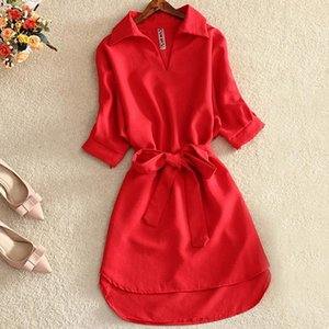 Shirts Women 2020 Summer Casual Dress Fashion Office Lady Solid Red Chiffon Dresses For Women Sashes Tunic Ladies Vestidos Femme hotsell