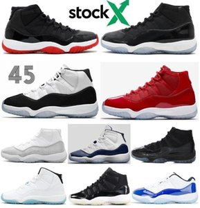 High Quality 11 Bred Space Jam Concord Metallic Silver Basketball Shoes Men Women 11s Cap And Gown Gym Red 72-10 Sneakers With Box