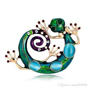 Yeni Tasarım Renkli Epxoy Emaye Lizard Broş Vintage Alaşım Rhinestone Opal Hayvan Broş iğneler Altın Kaplama Takı sürü Toptan