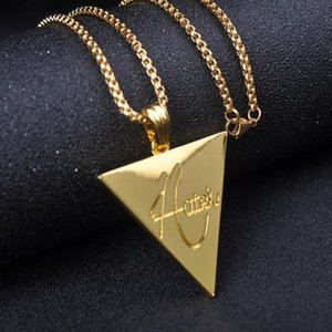 Hip Hop Men's Fashion Jewelry Silver Gold Long Chain Necklace Hater Inverted Triangle Metal Pendant Neckalce Creative Jewelry