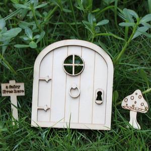 6 Pcs DIY Kit De Artesanato De Porta Elf De Fadas De Madeira Porta de Natal Decoração Do Vintage De Fadas Em Miniatura Guirlanda de Jardim Decoração Presente