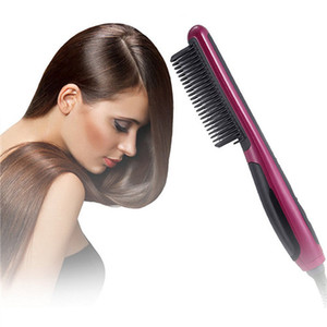 Ceramic Electric Beard Hair Brushes Straightening Irons LCD Display Fast Hair Straightener Comb Styling Massage Straight