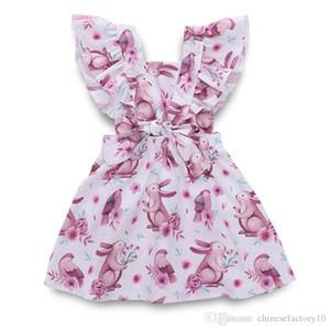 Ins baby mädchen kleid fliegenden ärmeln cartoon kaninchen print kleider rückenfrei verband ostern kinder prinzessin kleidung