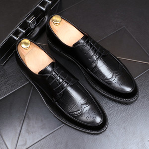 Luxury Business Leather Shoes Men Breathable Formal Dress Shoes Male Office Wedding Flats Footwear British style wild Mocassin new