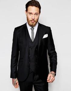 Nouveau Tuxedos Groom Groomsmen Un Bouton Noir Encolure Revers Meilleur Homme Costume De Mariage Blazer Costumes Pour Hommes Sur Mesure (Veste + Pantalon + Gilet + Cravate) 1358