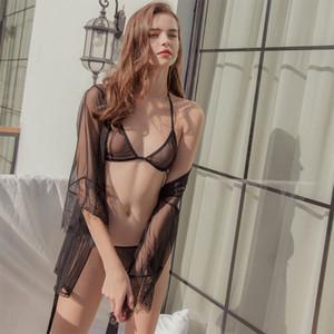 Оптово-Munllure дамы Кружева из трех частей Наборы Пижамы для женщин сорочка белье женщин сексуальный бюстгальтер Комплект белья Bralette пижамы