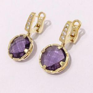 Luxury Purple Gem Charms Earring Hot Fashion Design Ear Cuff Womens Clip-on Earrings Girl Gold Rose Earrings Fine Jewellery Sweetheart Gifts