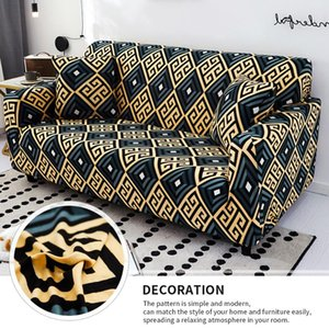1 2 3 4-Seaters Cotton Sofa Towel Slip-resistant Sofa Covers For Living Room Geometric Printing Stretch Elastic Cover