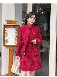 2020 Herbst neuer Qualitäts-Frauen Red Tweed Etuikleid 2-teiliges Set Winter-Jacken-Mantel + Herbst Bodycon Mini-Weste-Kleid-Anzüge