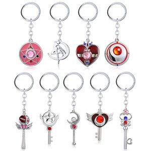 Anime Sailor Moon Kechain Five Star Moon Shaped Key Holder For Girl Gifts 20pcs lot