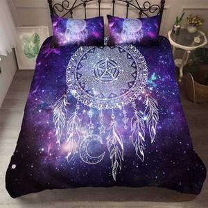 Yi Чу Xin Bohemian 3D Galaxy DreamCatcher Пододеяльник фиолетовый Mandala Пододеяльник Комплект постельного белья двуспальная кровать