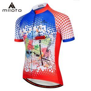 MILOTO 여름 사이클링 저지 Breathale 산악 자전거 의류 빠른 드라이 레이싱 MTB 자전거 도로 의류 교복 셔츠 착용