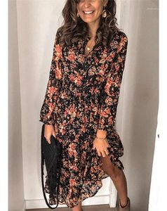 Casual Females Clothing Floral Print Womens Casual Shirt Dresses Fashion Buttons Panelled Womens Designer Shirt Dresses