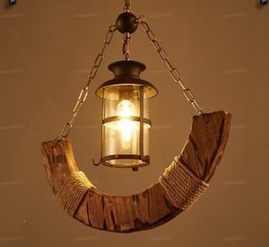 Retro industrial Crescent boat wood pendant lamp old boat wood American country style for bar cafe store LLFA