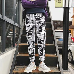Pantalon Hommes Faisceau Pied Harem Comics Imprimé Casual Couples Joggings Designer Hiphop Mode Streetwear Homme Pantalons
