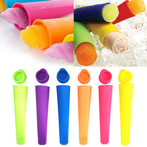 Molde de silicona con tapa de paleta de bricolaje Ice Cream Makers estallido del polo helado herramientas del molde colorido HHA1247