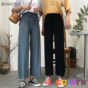 Повседневные брюки Женщины Vintage Summer Ulzzang Soft Досуг Опрятный Drawstring Wide Leg Pant Элегантная мода леди высокой талией брюки