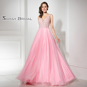 Dream V-neck With V-back Tulle Satin A-Line Floor Length Prom Dresses Pearls Formal Evening In Stock LX315