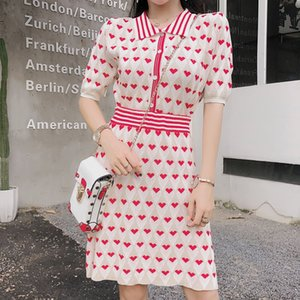 Stripe Knit Clothing Set Skirt Suit Summer New Women Set Turn-Down Collar Red Heart Slim Thin Ladies 2 Piece SL096