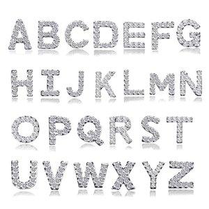 Alfabeto Studs 925 Sterling Silver Zircon pendientes de la letra para las mujeres niñas moda CZ Zirconia cristal cúbico Rhinestone encanto joyería regalos