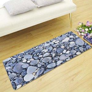 Honlaker estilo rústico de piedra de impresión largos Mat Salón Dormitorio de noche Alfombra antideslizante absorbente de cocina alfombra del piso decorativo