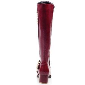 SARAIRIS nuevas llegadas a tamaño grande 43 de la venta caliente tacones gruesos cerrar la cremallera de rodilla de alta Mujer Botas Zapatos de la hebilla de los zapatos de las mujeres botas de mujer