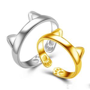 Oreille mignons d'or blanc 18K chat bande Bagues avec patte de charme anneaux ouverts pour les femmes Party Bijoux Bagues doigt Lovely Girls Or Midi Bague