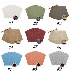 9 الألوان مروحة على شكل أدوات المائدة لوحة PVC النمط الغربي الغذاء حصيرة عدم الانزلاق عزل حراري تحديد الموقع 45 * 30CM الجدول حصيرة ZZA1211