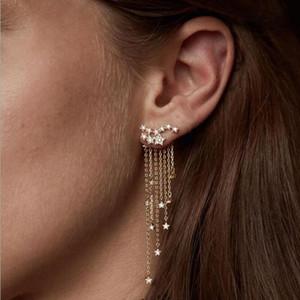 Мода кисточкой серьги звезды с Кристалл Ювелирные изделия Длинные серьги для женщин Золото Серебро Цвет Горячая оптовая продажа