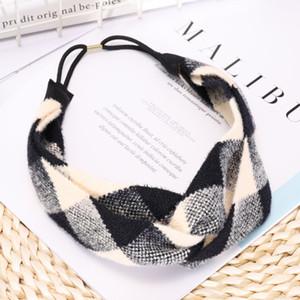 Mode multicouleur Rhombus Hairband laine à tricoter Plaid Bandeaux simple et généreux Accessoires cheveux à la main pour les femmes