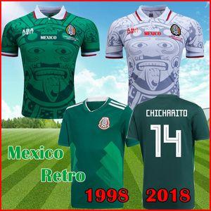 México 1998 Camisas de futebol retrô BLANCO 98 Camisa de futebol clássico HERNANDEZ CAMPOS RAMIREZ camisa CHICHARITO LOZANO 2018 Camisa verde do México