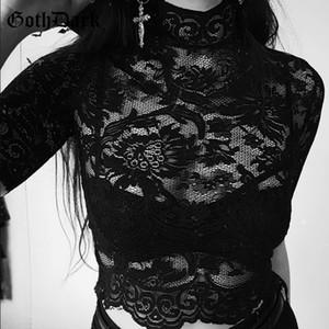 Goth Dark Estética Malla Ahueca hacia fuera Camisetas Agujero Remiendo Crop Top Camiseta sólida Bordado transparente gótico Camiseta C19041702