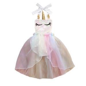 0-24M Princesse bébé Bodys Bébés filles Robe à volants pailletée sans manches en dentelle Ceinture Unicorn Tutu Robes Vêtements Bodysuit