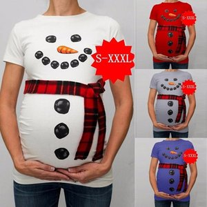 Halloween dresses Women Christmas Snowman Cartoon Maternity T Shirts Pregnancy Tee Tops Clothes maternity clothes pregnant