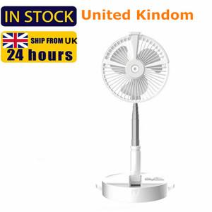 UK warehouse GB seller Portable USB Charging Fan Folding Fans Home Desktop Landing Silent Spray Fan Air Cooler Desktop Floor Standing Fan