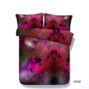 Colcha Adolescentes Crianças Azul Galaxy Red 3 peça cama Set Com 2 Pillow Shams Sparkling da estrela capa de edredão Universo Consolador Tampa For Teen