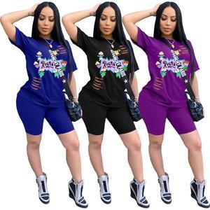 Tasarımcı İki Adet Kısa Set Kadınlar Giyim Biker ayarlar Yaz Casual Cartoon 2adet Eşofman Yaz Moda Şort Kadın S-3XLOutfit Tops