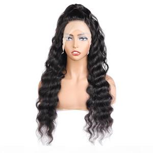 10A solto onda profunda 4 * 4 Transparente Lace Encerramento perucas de cabelo brasileiro reta perucas de cabelo humano com cabelo do bebê da onda do corpo de água Kinky Curly