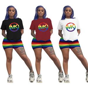 T-shirt da ginnastica da donna scollo tinta unita scollo t-shirt manica corta da donna scollo tanga manica lunga aderente a maniche corte arcobaleno estivo plus size 736