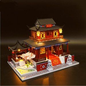 Large Chinese style DIY Doll House Wooden doll Houses Miniature dollhouse Furniture Kit Handmade Toys birthday gift for kids MX200414