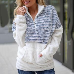 High Frauen Zipper Stitching Taschen Bluse Mantel Revers Langarm-beiläufige lose Jacke DSM